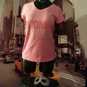 Pink Blinged Best Mom Ever Bling Tee